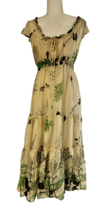 Anthropologie Odille Chiffon Midi Tiered Floral Dress Women's 6