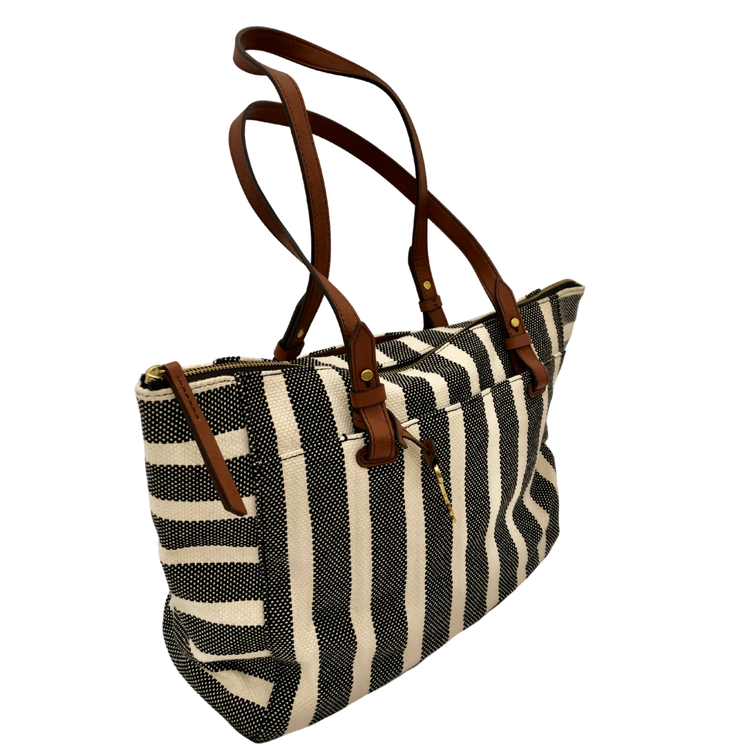 FOSSIL Black And White Striped Tote With Leather Straps