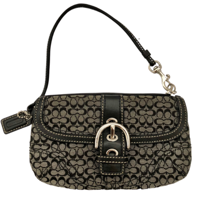COACH Signature Dark Brown Buckle Flap Wristlet