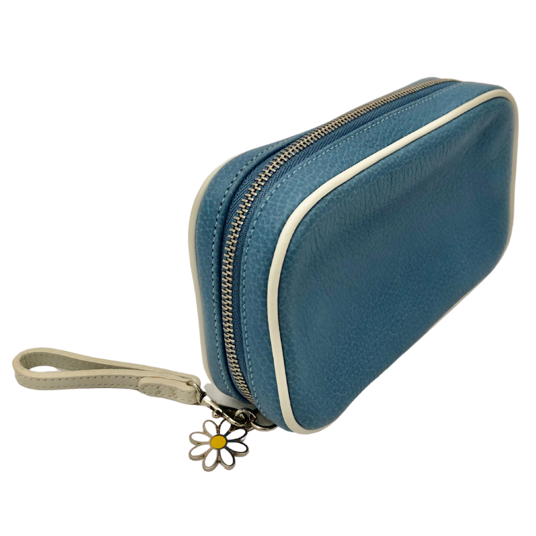 COACH Baby Blue Wristlet With Zipper Pull And Daisy