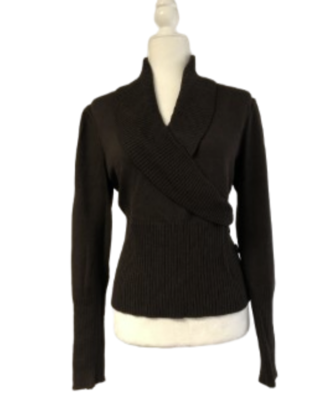 Marie Gray by St. John Sport Dark Chocolate Brown Shawl Collar Wrap Sweater Women's Medium