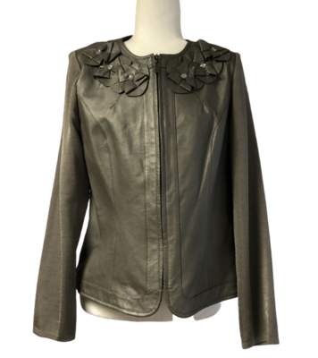 Peter Nygard Genuine Leather & Knit Embellished Jacket Women's Petite Medium
