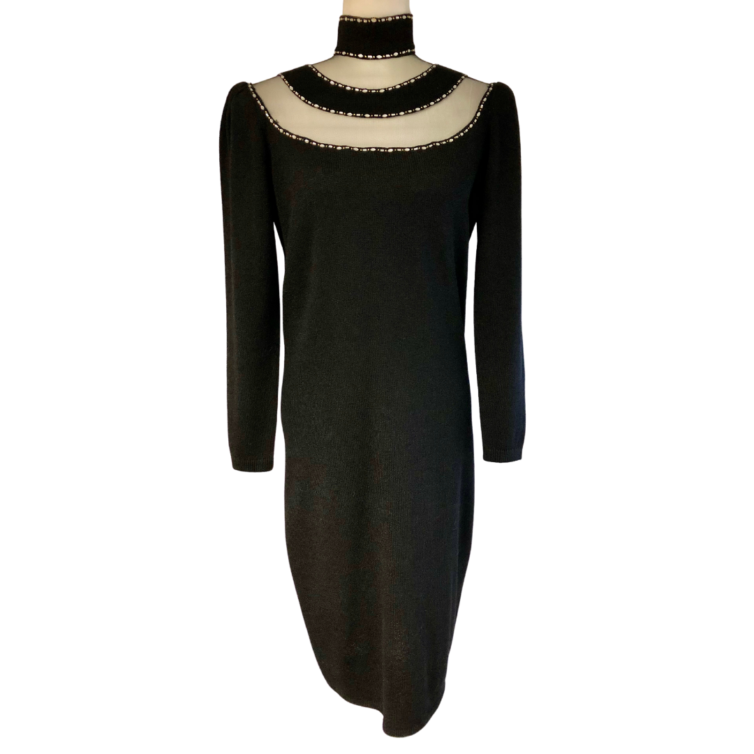 St. John By Marie Gray Knit Dress with Rhinestone Embellishments Women's 8
