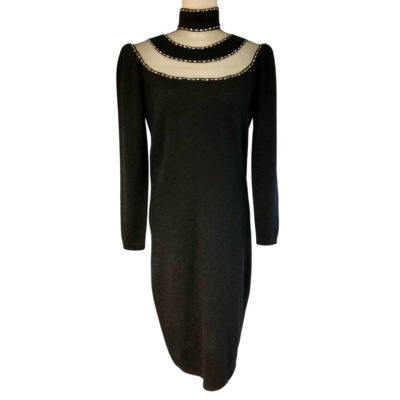 St. John By Marie Gray Knit Dress With Rhinestone Embellishments Women's 8