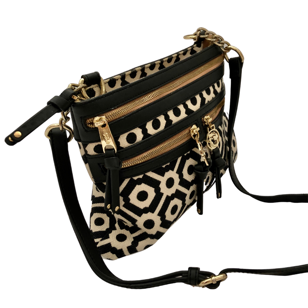 Spartina 449 Black & White Natural Linen Genuine Leather Crossbody Purse