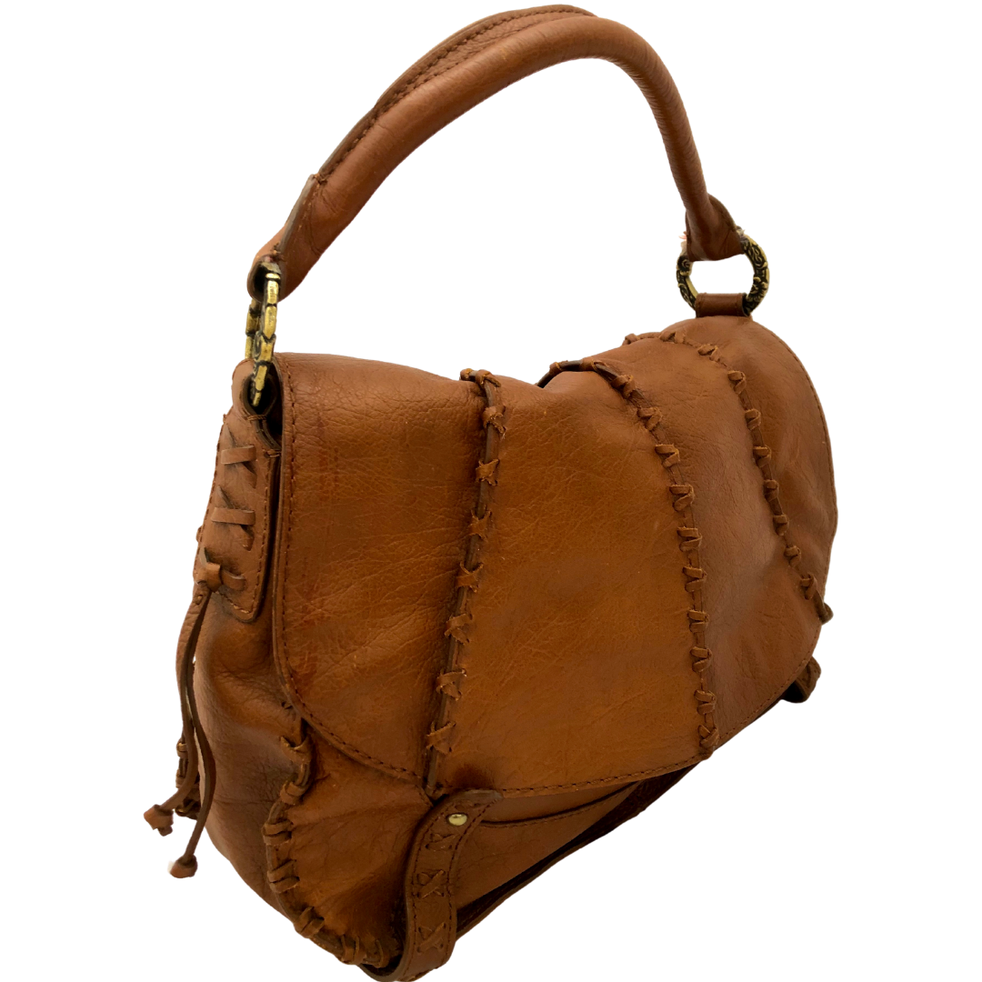 Gianni Bini Brown Leather Braided Handbag