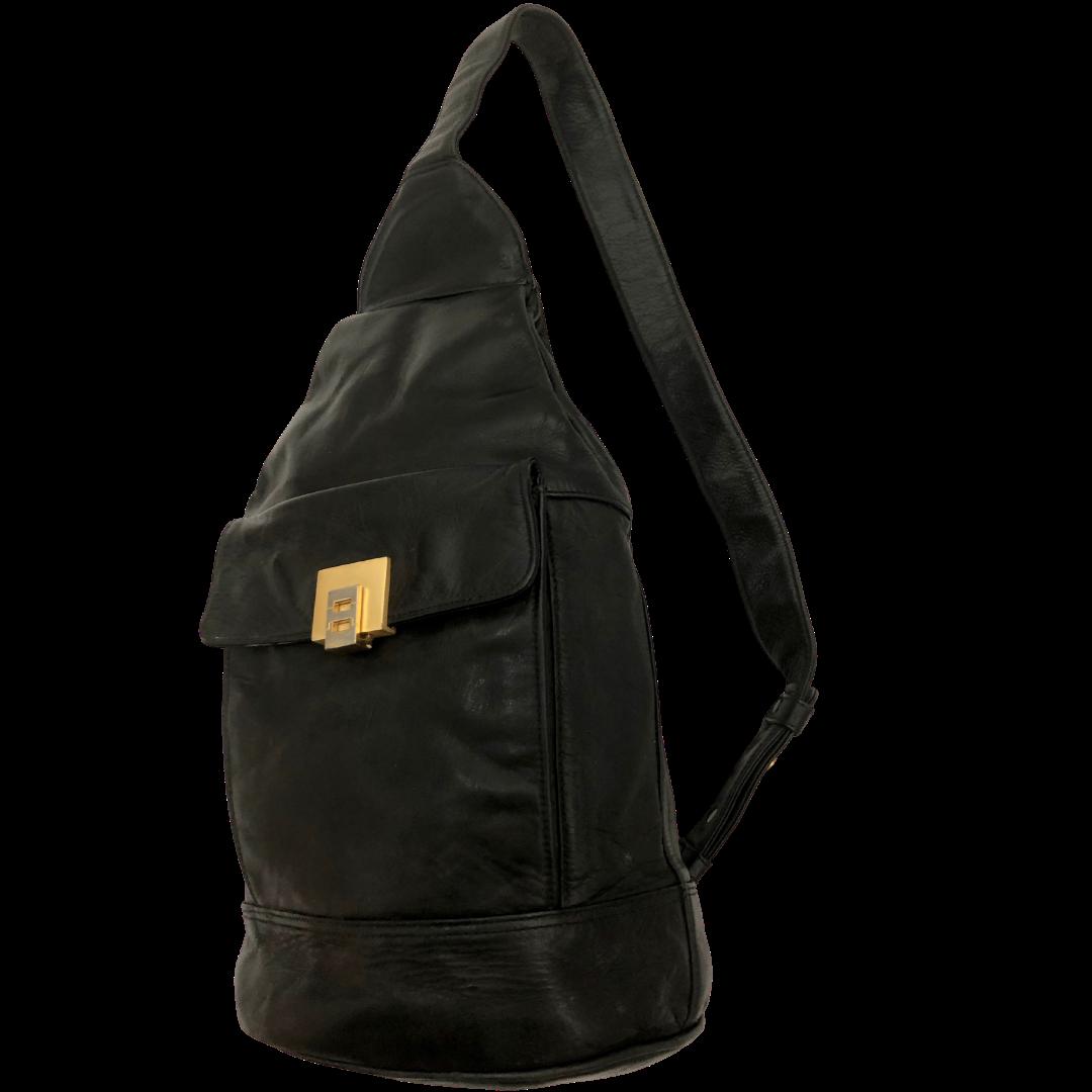 Perlina New York Soft Black Leather Sling Backpack Purse