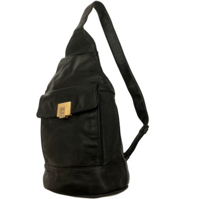 Perlina New York Soft Black Leather Sling Backpack Purse