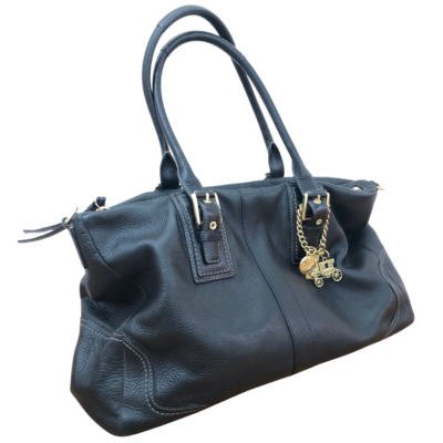 COACH 12444 Black Handbag With Brass Tags