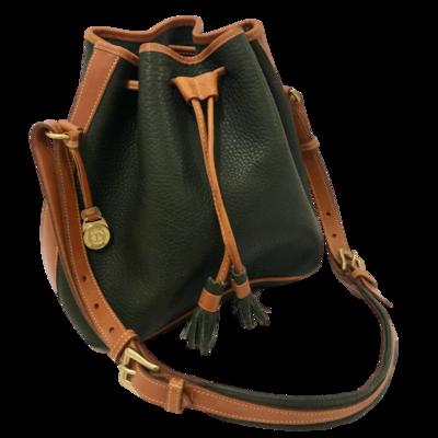 Dooney & Bourke Forest Green Pebble Grain Drawstring Shoulder Handbag