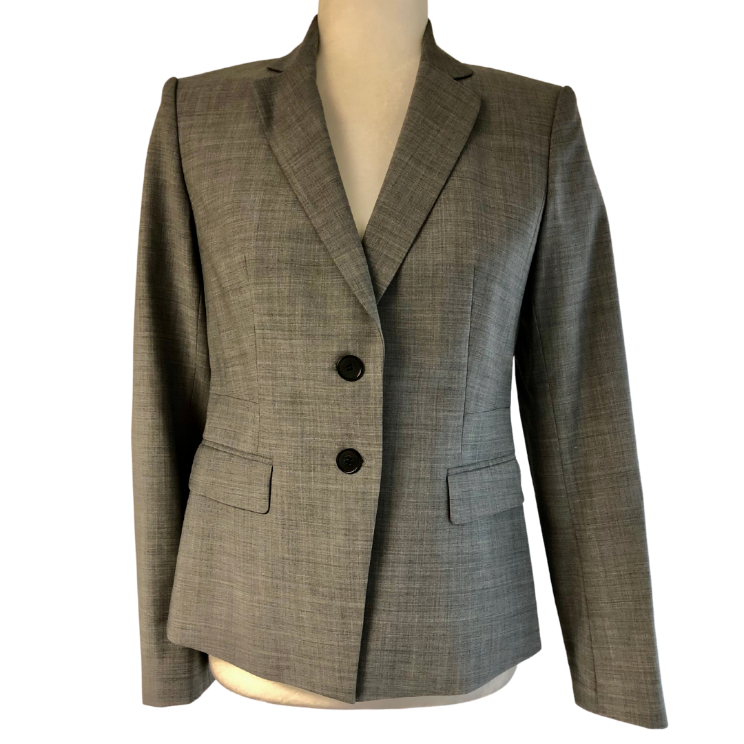 Ann Taylor Petite Grey Double Button Lightweight Wool Lined Blazer Women's 4P