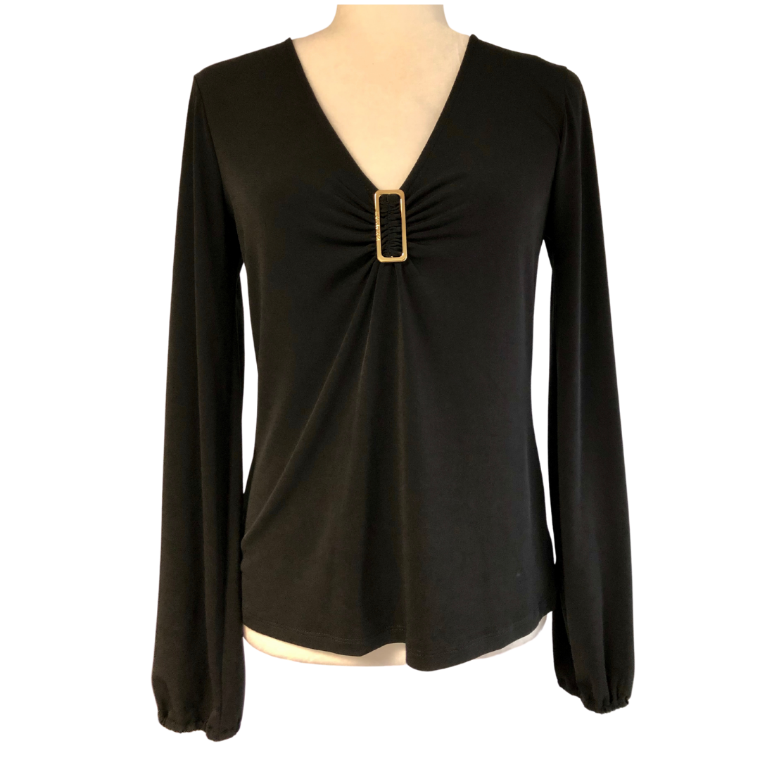 Michael Kors Black Ruched Long Sleeve Top Women's Small