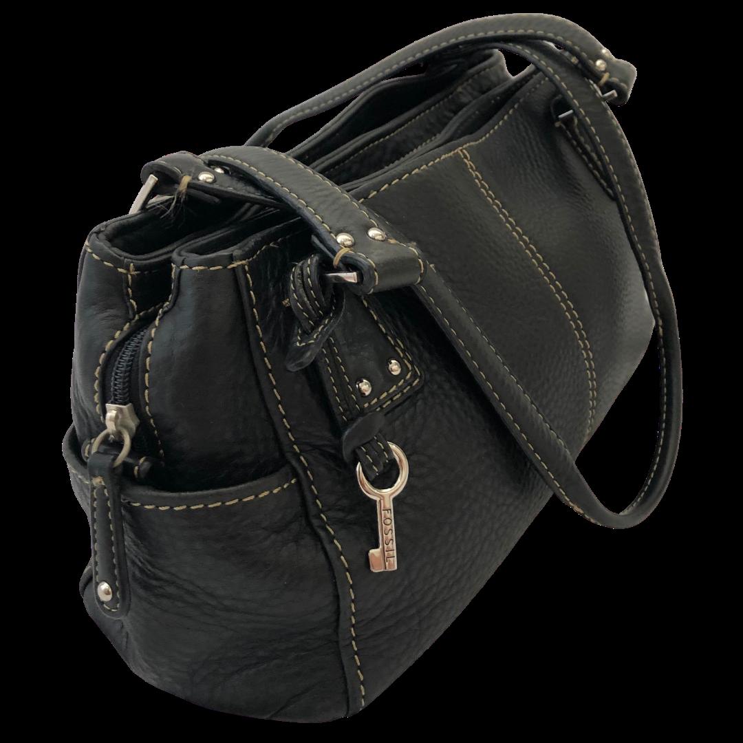 Fossil Black with Gold Stitching Handbag