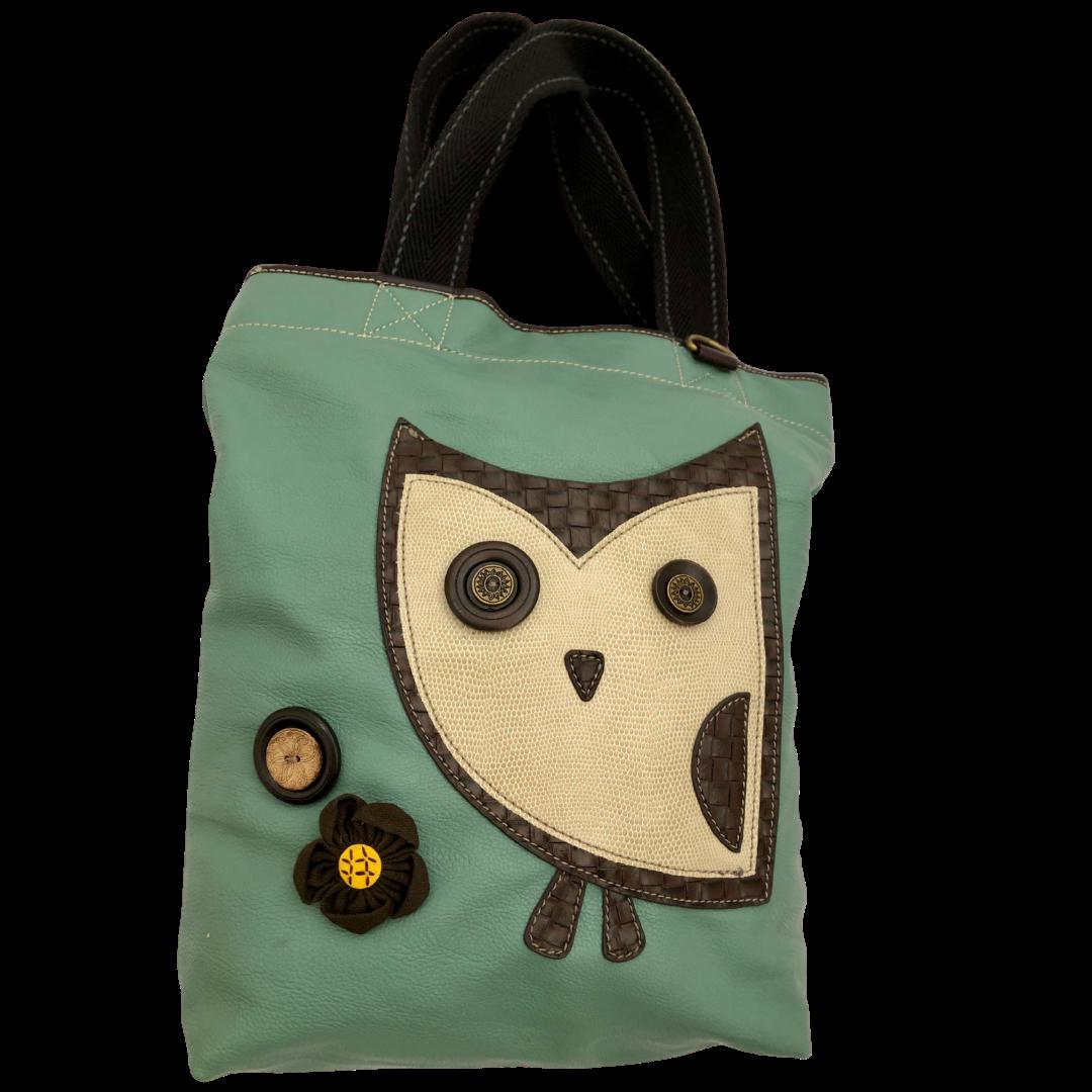Chala Handbags Aqua Owl Vegan Tote