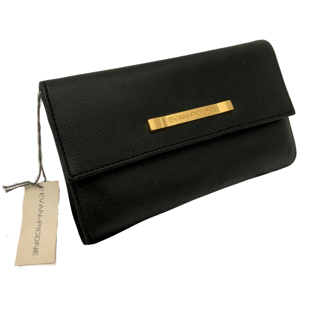 Evan Picone Black Flap Wallet with Gold Badging