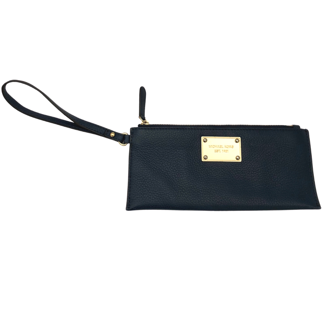 Michael Kors Dark Navy Wristlet with Gold Badging