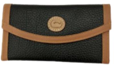 Dooney & Bourke Black and Tan Trifold Women's Wallet