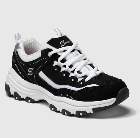 Skechers Memory Foam Black/White Suede Shoe Women's 9