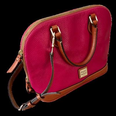 Dooney & Bourke Pink Pebble Grain Zip Zip Satchel Handbag