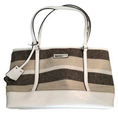 Dana Buchman Canvas Striped Tote with Embossed Faux Reptile Trim