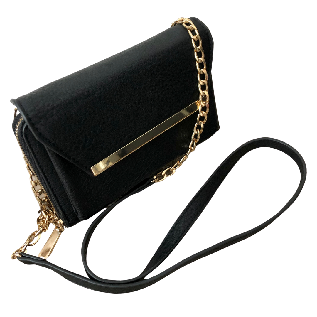 Madison West Crossbody Wallet with Gold Embellishments