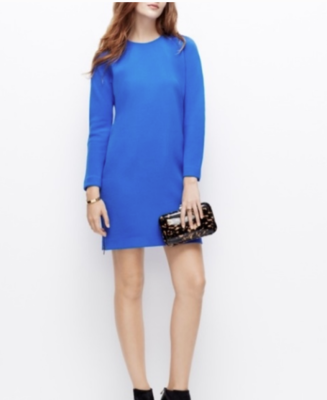 Ann Taylor Blue Long Sleeve Dress with Two-Sided Exposed Zippers Women's 4