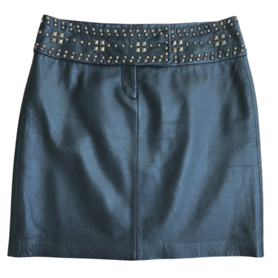 Cache Black Leather Lined Skirt with Studs at the Waist Women's 2