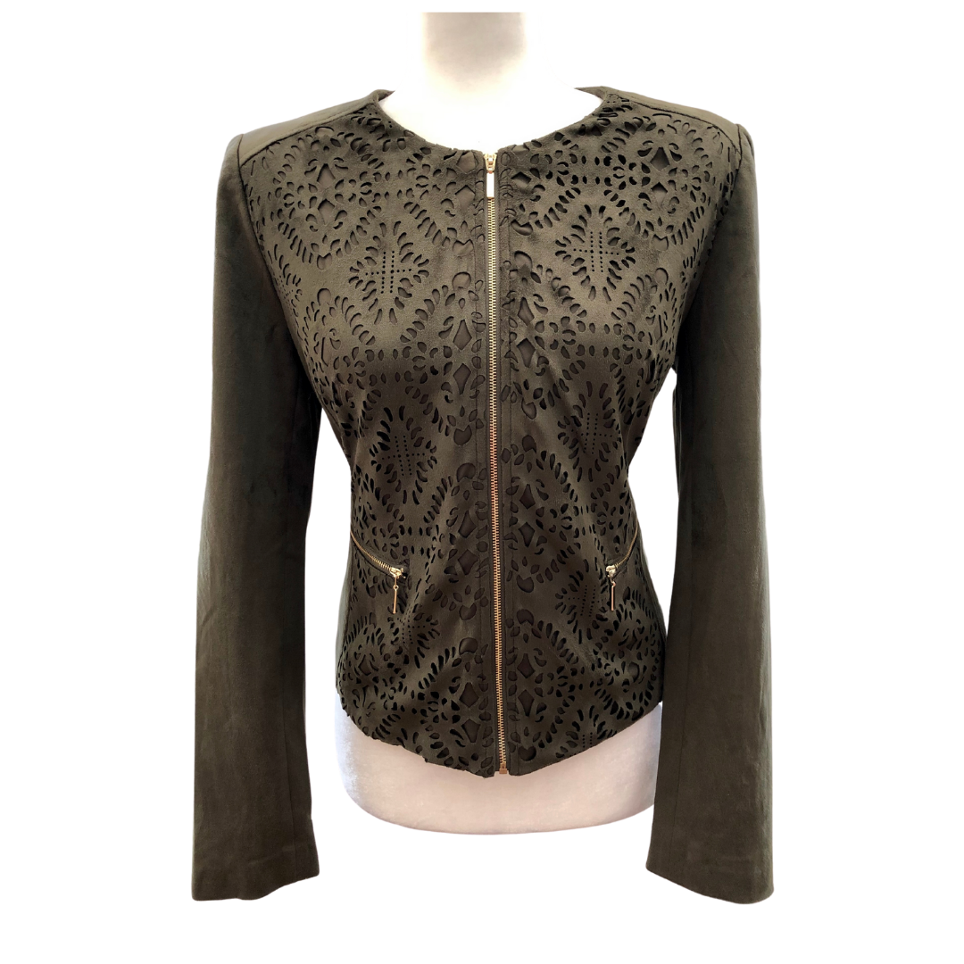 Carmen Marc Valvo Faux Suede Fully Lined Cutout Floral Zipper Front Jacket Women's 6
