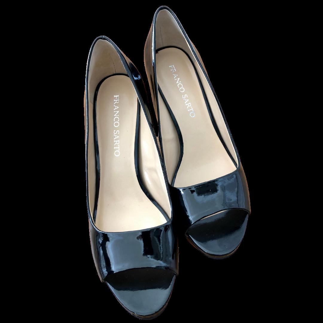 Franco Sarto Black Patent Leather Peep Toe Shoe Women's 10