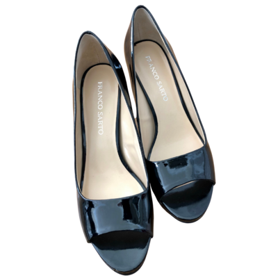 Franco Sarto Black Patent Leather Peep Toe Shoe Women's 10