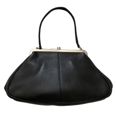 Trina Turk Black Shoulder Purse with Silver Clasp Opening