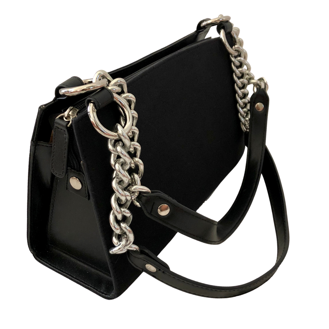 Miche Classic Black Rigid Body Handbag with Silver Chain Embellishment