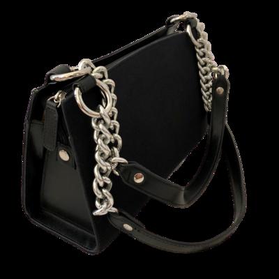 Miche Classic Black Rigid Body Handbag with Silver Chain Embellishment