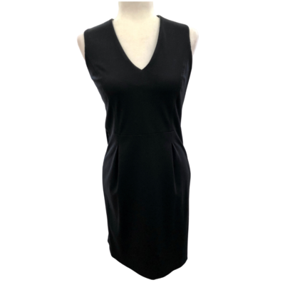 Banana Republic Petite Black Dress V-Ribbed Neckline with Pleats below the Waistline Women's 4