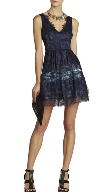 BCBG Max Azria Blue Willa Lace Dress Women's 2