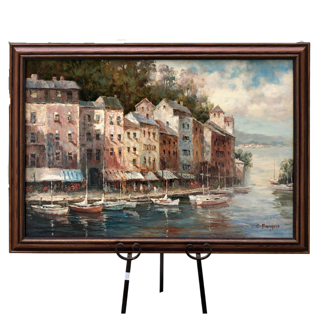 C. Francis Original Impasto Oil Painting on Canvas of Fishing Boats