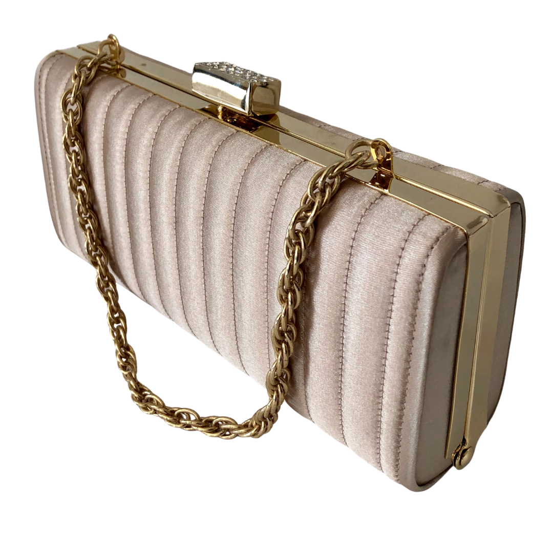 Lord & Taylor Satin Quilted Box Clutch with Rhinestone Clasp