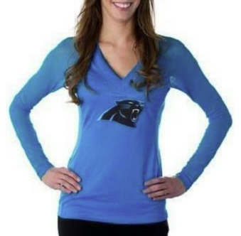 NFL Team Apparel All Sport Couture Panthers Long Sleeve V- Neck Women's XL