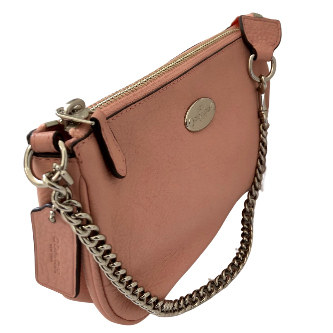 COACH Soft Pink Wristlet with Silver Chain Purse