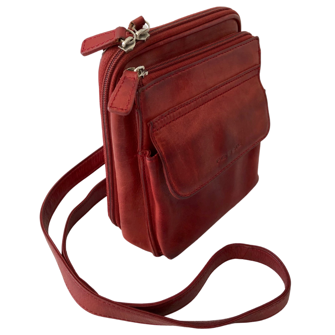 Fossil Crossbody Cherry Brown Compartment Purse