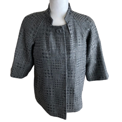 Peter Nygard 3/4 Length Sleeve Houndstooth Jacket Women's 8