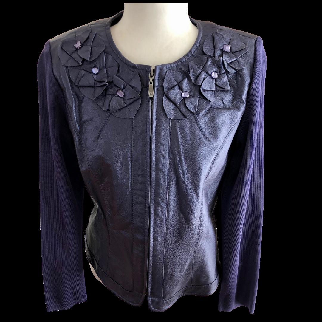 Peter Nygard Genuine Leather & Knit Embellished Jacket Women's Petite Medium