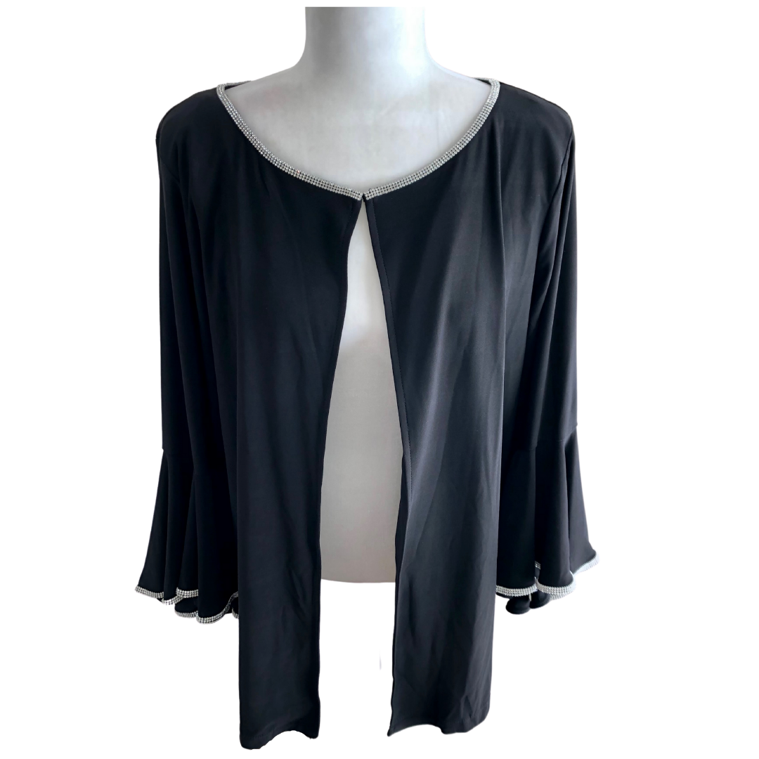 Prelude Jacket with Rhinestone Trim on Neckline and Bell Sleeve Women's XL
