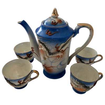 Vintage Collectible Japanese Moriage Dragonware Tea Set of 5