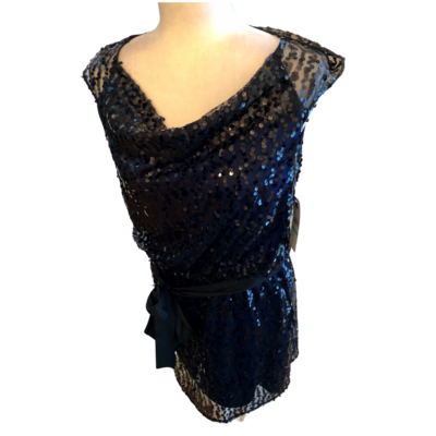 Laundry By Design Black Sequin Overlay Blue Dress with Draped Neckline Women's 8