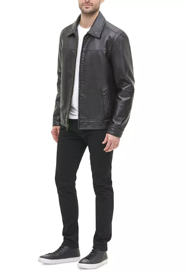 Tommy Hilfiger Quilted Lined Faux Leather Jacket Men's LT