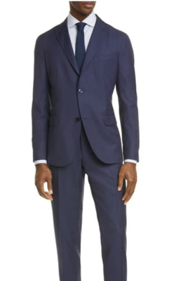 Boglioli Wool Navy Suit Made In Italy Men's Jacket US44 Pants 36W X 33L