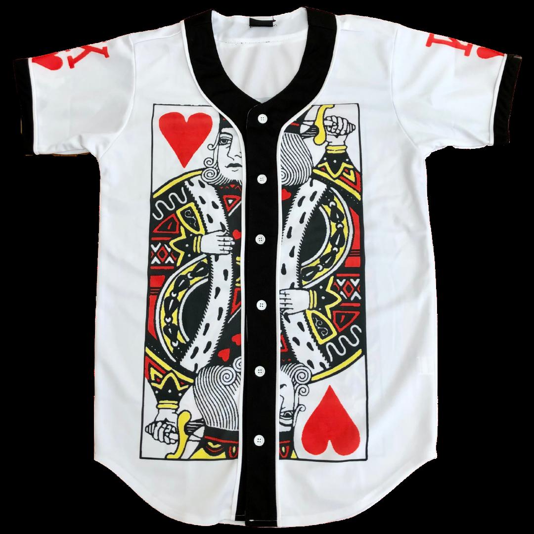 PIZOFF Unisex 3D Print Baseball Team King of Hearts Jersey Shirt Men's Medium