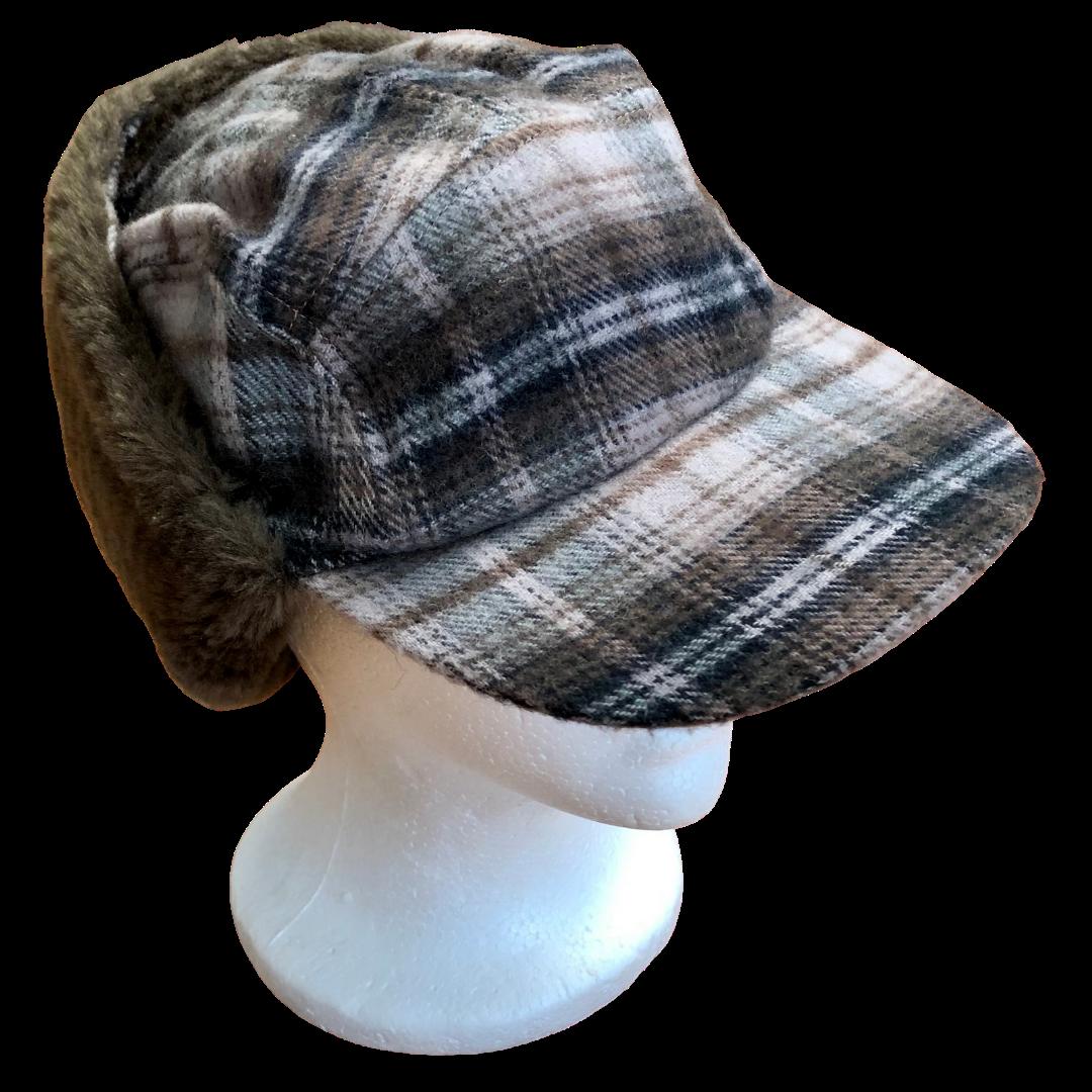 Perry Ellis Velcro Adjustable Trapper Fur Lined Hat Adult XL