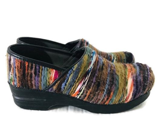 Dansko Multi-Colored Coated Yarn Shoe Women's 36